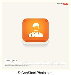 Medical user icon. Orange Abstract Web Button
