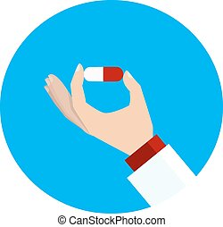 Medical vector icon. Hand with pill