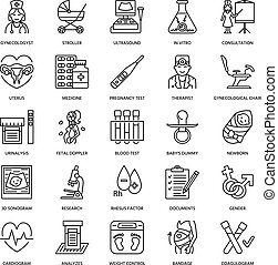 Medical vector line icon of pregnancy and obstetrics. ...