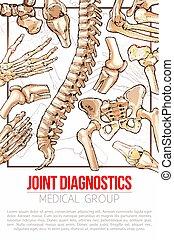 Medical vector poster for joint diagnostics