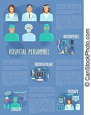 Medical vector poster hospital personnel doctors - Hospital...