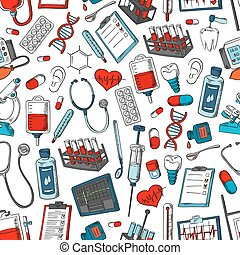 Medical vector seamless pattern of medicine items
