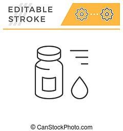 Medical vial editable stroke line icon