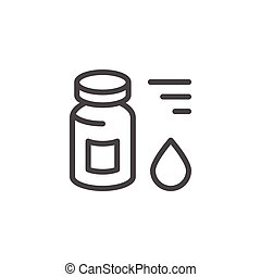 Medical vial line icon isolated on white. Vector...