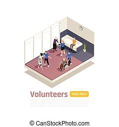 Medical Volunteering Isometric Background