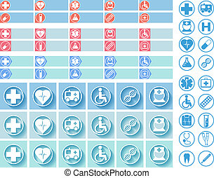 Medical web buttons and icons