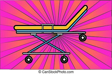 Medical wheelchair hospital bed on wheels on a background of abstract purple rays. Vector illustration