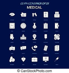 Medical White icon over Blue background. 25 Icon Pack