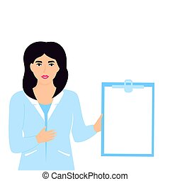 Medical woman doctor hold clipboard with copyspace. Nurse standing in blue lab coat.