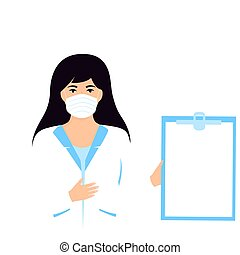 Medical woman doctor hold clipboard with copyspace. Nurse ...