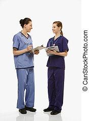 Medical workers. - Portrait of Caucasian women doctors in...