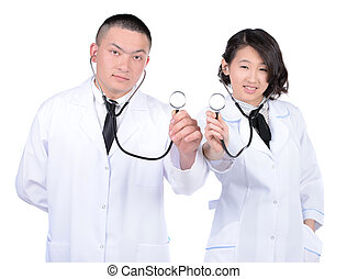 Medical Workers - Portrait of a man and woman medical Asians...