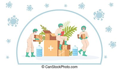 Medical workers in protective suits, glasses and masks take humanitarian aid during coronavirus outbreak vector flat cartoon illustration. Medical donation, support, and material assistance concept.