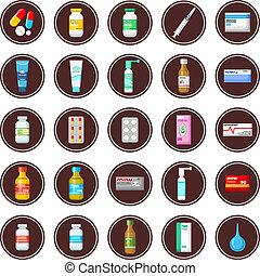 Medicament. Set of icons.