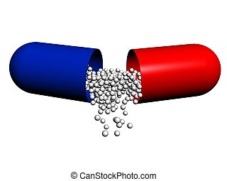 medicament - Heap of red-white capsules on a white...