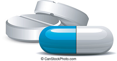 Medicament: two pills and capsules over white. EPS 8, AI, JPEG