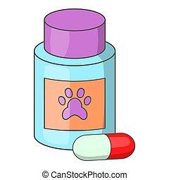 medicamento, icona, animali, vitamina, o