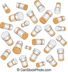 medicamento prescrito, garrafas