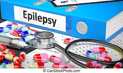medicaments, medisch, blauwe , supplies., arts, tafel, map