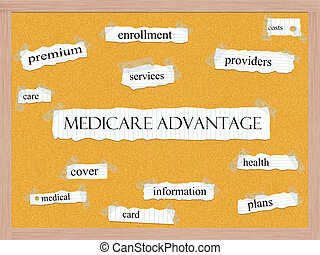 Medicare Advantage Corkboard Word Concept with great terms such as costs, care, enrollment and more.