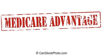Rubber stamp with text medicare advantage inside, vector illustration