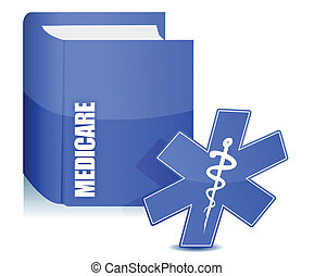 medicare book illustration over a white background