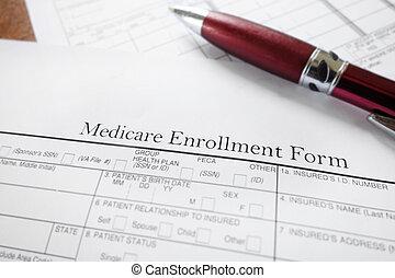 medicare macro - Closeup of a Medicare insurance enrollment...