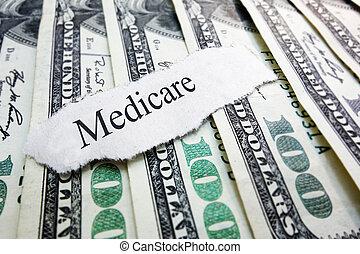 Medicare money - Medicare newspaper headline on assorted...