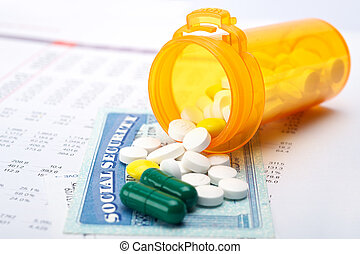 Medicare - Pills and social security on account paper