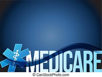 Medicare sign concept illustration design over blue