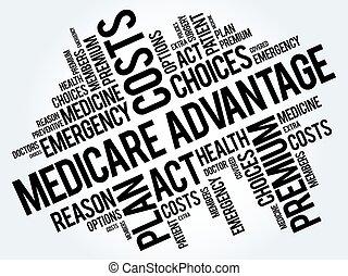 medicare, voordeel, woord, wolk, collage