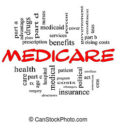 Medicare Word Cloud Concept in Red Caps - Medicare Word...