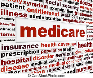 Medicare word clouds design. Health insurance creative...