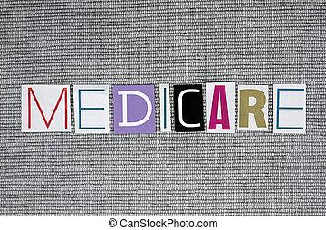 medicare word on grey background, medical concept
