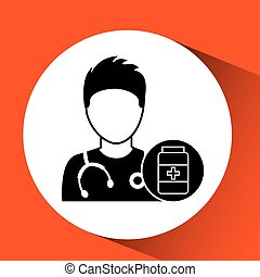 medicatie, capsule, ontwerp, fles, verpleegkundige, spotprent