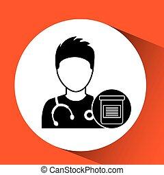medicatie, charatcer, capsule, ontwerp, verpleegkundige, pil
