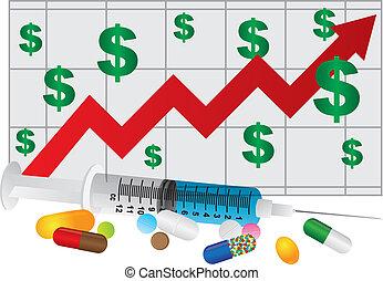 medicatie, drugs, tabel, illustratie, spuit, pillen
