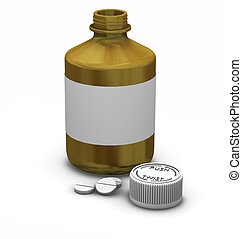 Medication - 3D render of a bottle of tablets