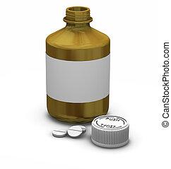 Medication - 3D render of a bottle of tablets