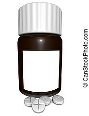 medication bottle with some pills before