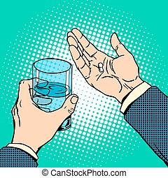 Medication health pills in hand