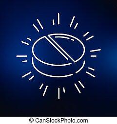 Medication icon on blue background