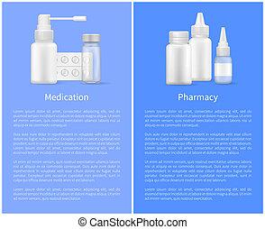 Medication Pharmacy Poster Pill Bottles Set Spray -...