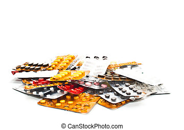 medications on a white background