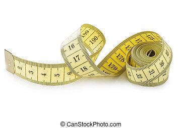 medición, aislado, amarillo, cinta, plano de fondo, blanco