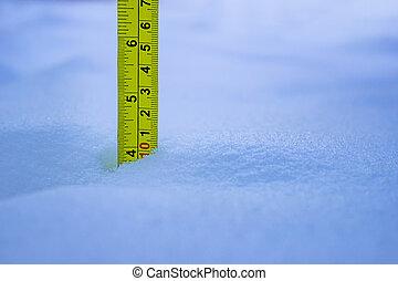 medición, amarillo, profundidad, 10, nieve, regla, ...