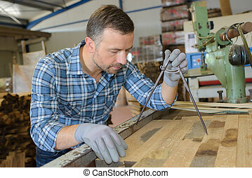 medición, artesano, tablón