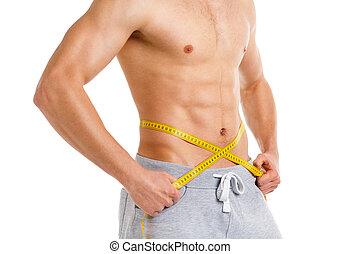medición, atlético, cinta blanca, hombre