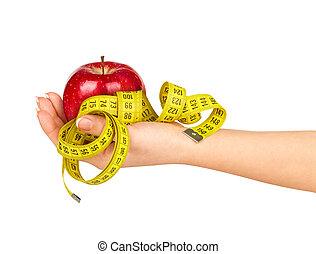 medición, backgroun, manzana, mano, cinta, tenencia, blanco