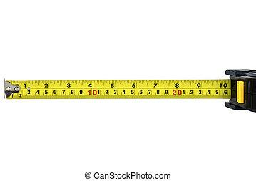 medición, blanco, construcción, cinta, aislado